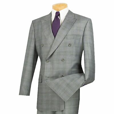 Vinci Men's Gray Glen Plaid Double Breasted 6 Button Classic-Fit Suit NEW