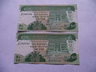 Mauritius. 2 Notes@10 Rupees Nd (1985) Almost In Sequence. Nice Condition