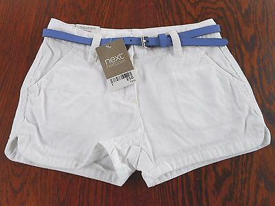 Bnwt Next White Cotton Shorts With Belt To Fit Age 4 Yrs Unworn