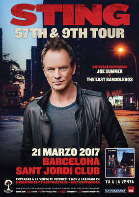 Sting Sant Jordi Club, Barcelona 21th March 2017 STANDING Ticket