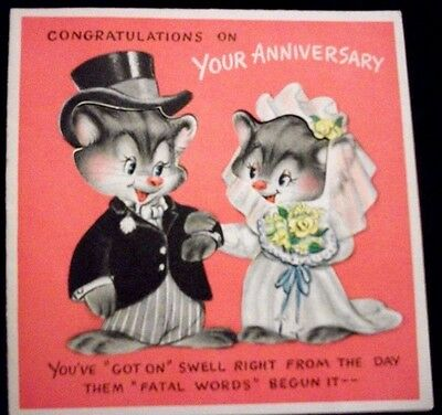 Vtg  greeting card HALLMARK Animals Muskrats Cats Racoons  ANNIVERSARY  Die Cut