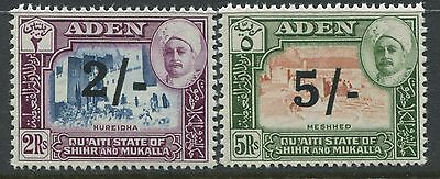 Aden Qu'Aiti State 1951 2/ and 5/ on 2 rupees and 5 rupees mint o.g.