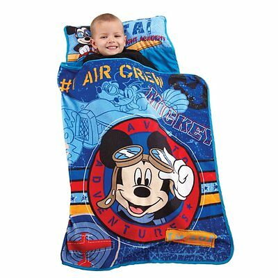 Disney Mickey Mouse Blue Travel Toddler Nap Mat Blanket Sleeping Bag Sack NEW