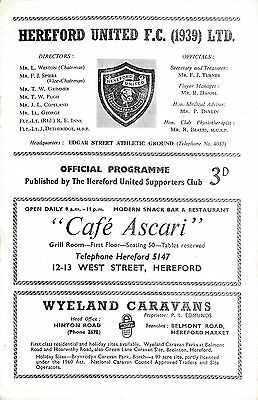 Hereford v Wellington Town (Southern League) 1962/3