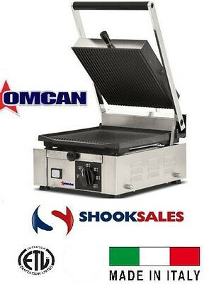 Omcan 11376 Grill Commercial Restaurant Panini Ribbed Grill Sandwich ETL Italian