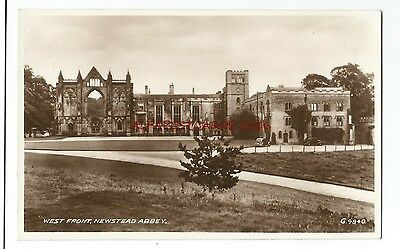 Nottinghamshire Newstead Abbey West Front Real Photo Vintage Postcard 06.01