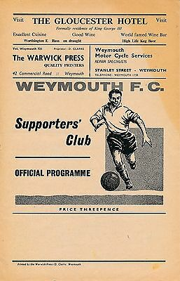 Weymouth v Hereford United (Southern League) 1961/2