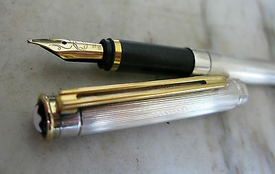 Vintage Scarce Montblanc Noblesse Silver Plated Fp - Solid Gold 18 Carats Nib