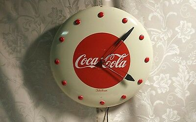 1950's Telechron Advertising Coca-Cola Button Clock ~ Country Store Find