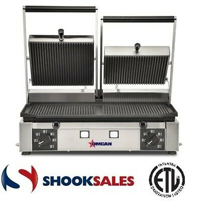 Omcan 11378 Commercial Restaurant Panini Ribbed Double Sandwich Grill ETL