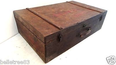 Antique WWI Military Plywood Suitcase Trunk Box Leather Handle Hardware Vintage
