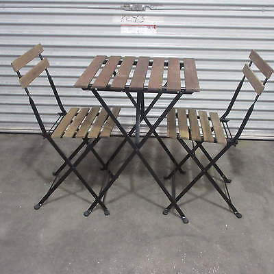 IKEA PATIO TABLE and 2 CHAIRS FOLDING TIMBER and METAL ,BF