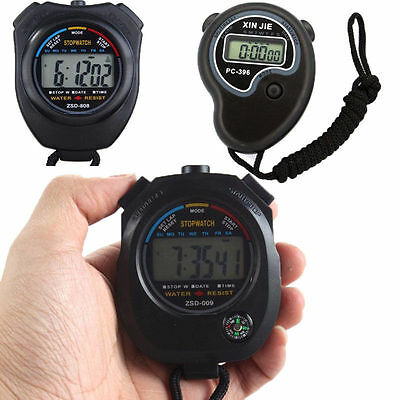 Digital Handheld Sports Stopwatch Stop Watch Timer Alarm Counter - 2 Colours