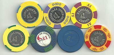 7 x £1 casino chips mainly from London.