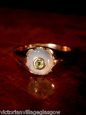 VICTORIAN 9CT ROSE GOLD MOONSTONE SAPPHIRE RING .... Size S 1/2
