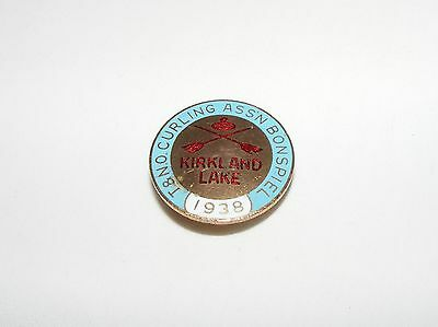 Vtg Antique Kirkland Lake T & N.o. Assn Bonspiel Curling Club Pin  1938  Rare