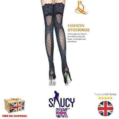 Womans Black Hold Up Stockings Hosiery - One Size - UK SELLER