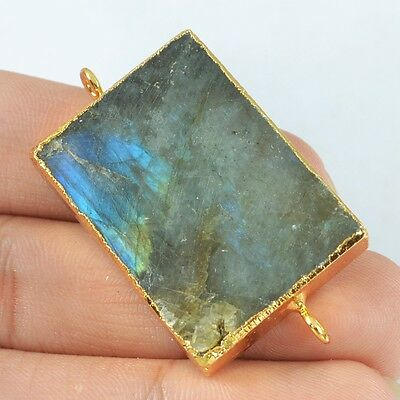 Rectangle Natural Labradorite Connector Gold Plated B024211