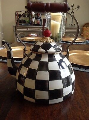 Brand NEW Mackenzie Childs Large 3qt TEA KETTLE Courtly Check Enamel $135 retail