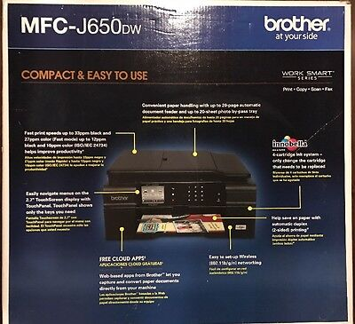 NEW Brother MFCJ650DW Wireless Color Printer, Scanner, Copier & Fax