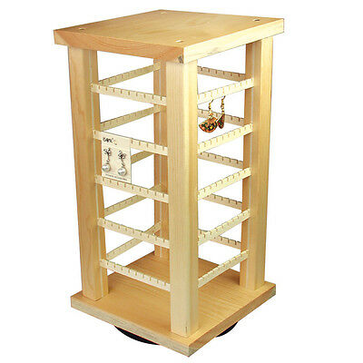 Ikee Design Wooden Rotating Earring Display Organizer for 100 Pairs of Earrings
