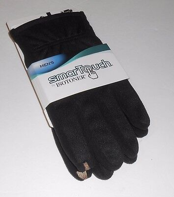 Smartouch by Isotoner Men's Touch Screen Compatible Gloves Black Large (L) NWT