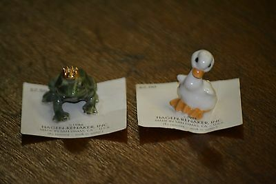Hagen Renaker Frog Prince Sitting Duck miniatures On Original Card Hagen-Renaker
