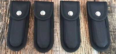 FOUR NYLON FORM FITTED SHEATHS for Folding Knife Multi Tool Belt Pouch CASE New