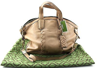 New With Tags Women's ORYANY Beige Leather Satchel Handbag Size M