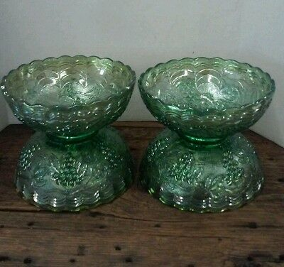 4 Imperial GRAPE CARNIVAL Glass Bowls GREEN HELIOS  Interior & Exterior Pattern