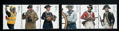 GB 2009 - Royal Navy Uniforms, Set of 6 ,Booklet pane of 3 each