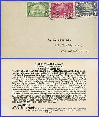 US # 614-616 ADDR FACSIMILE FDC Combo3  1924 Huguenot-Walloon Issue