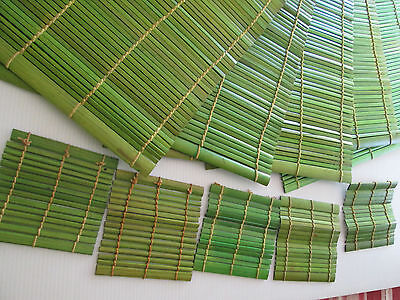 Set of 5 Bamboo Kitchen Placemats Green Place Mats Dinner Table With Coasters