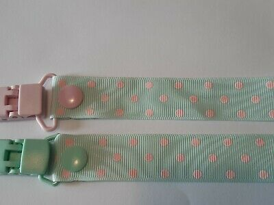 MINT / PINK SPOTS / DOTS  Dummy Clip / Dummy Clips / Pacifier Clips / Chain