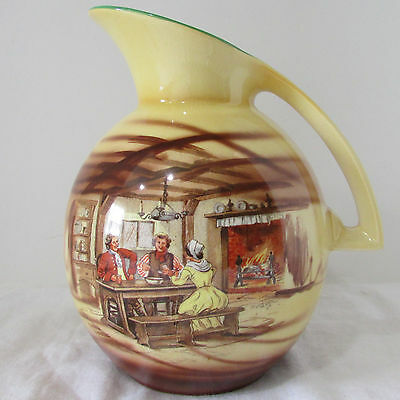 VTG 1930's T. Lawrence Falcon Ware Pitcher #5138 with Hand Painted Tavern Scenes