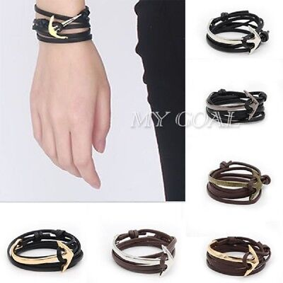 Men Silver & Gold Anchor Bracelet Rope Leather Wrap Around Bangle Gift Present