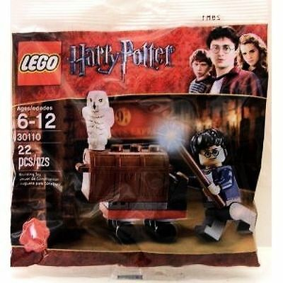 Harry Potter Lego 30110 King's Cross Trolley Hedwig the owl Trunk & Harry New