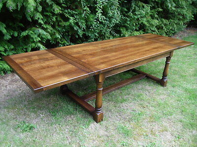 HUGE EXTENDING 10ft SOLID OAK REFECTORY DINING TABLE ANTIQUE STYLE
