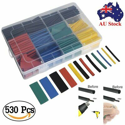 AU 530Pcs Assorted 2:1 Heat Shrink Tubing Tube Cable Sleeving Wrap Wire Kit Box