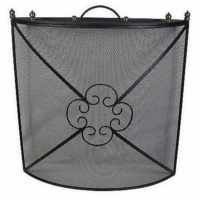 Large Fireplace Fireside 26'' Curved Metal Firescreen Fire Guard Spark Protector