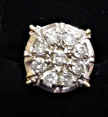 Valuation $4900 14K Yellow Gold 1.80 carat Diamond Cluster Ring Size 0