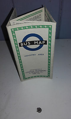Undated(1950S) London Transport(Country Area)Green Border Bus Route Fold Out Map