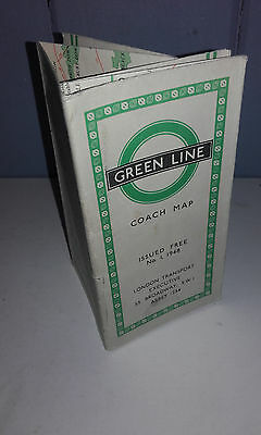 1948(Issue 1) London Transport(Green Line) Bus(Coach) Route Fold Out Map