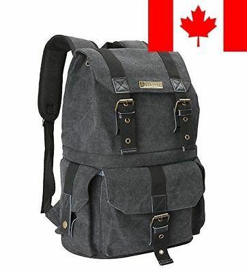 Evecase Water Resistant Canvas DSLR Camera and School BackPack Rucksack w/Rai...