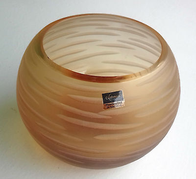 """Caithness Glass - """"Gold horizontal dashes"""". Handcrafted."""