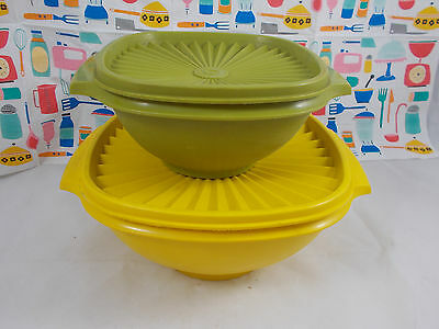 Vintage bright yellow and green Tupperware bowls with fan lids