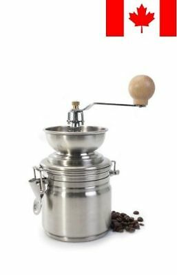 Stainless Steel Manual Coffee Grinder with Air Tight Canister 17oz