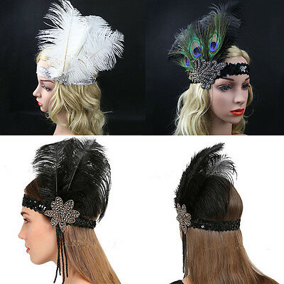 Sequin Feather Flapper Headband 1920s Great Gatsby Headdress Headpiece Vintage
