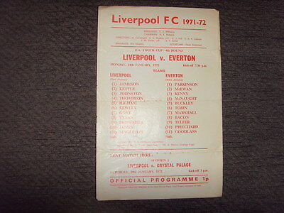 PROGRAMME - LIVERPOOL v EVERTON - YOUTH CUP - 1972