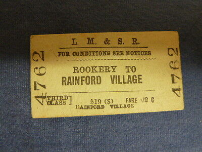 Vintage LMS Railway Ticket Rookery to Rainford Village 4762 Sep 08 1945